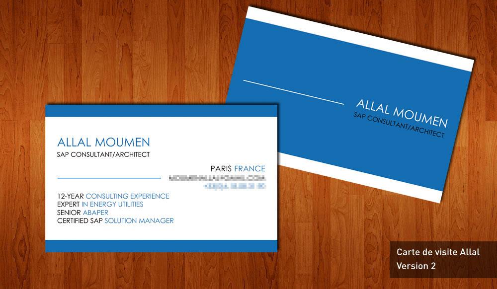 Allal Moumen - Consultant SAP - Carte de visite avec vernis selectif