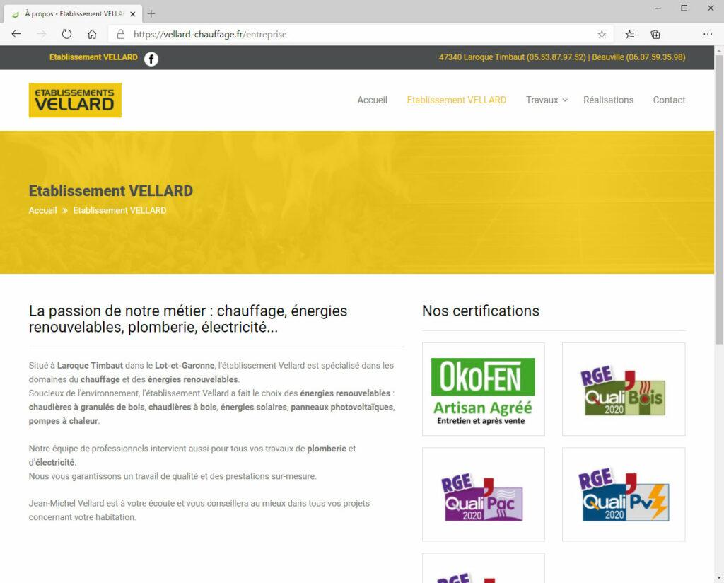 Etablissement Vellard - Refonte du site (a été refait depuis)
