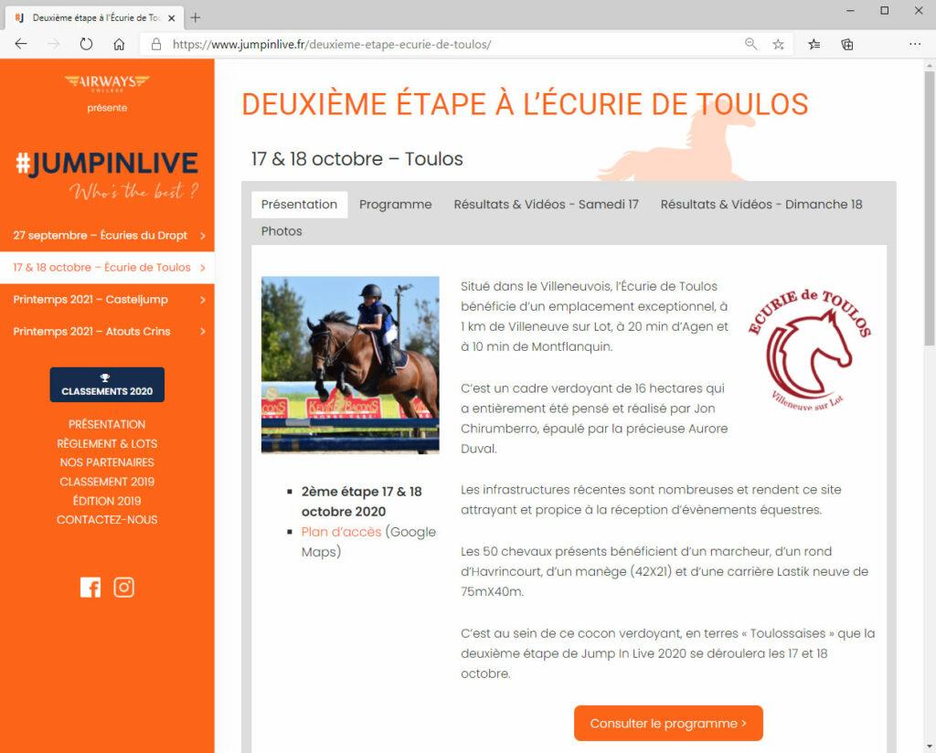 #JUMPINLIVE - Réalisation du site internet en collaboration avec l'Agence Ekestri