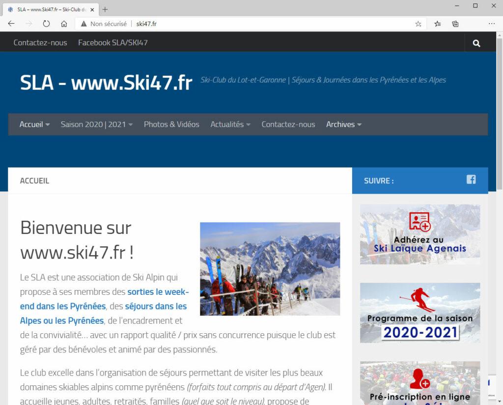 Ski Laïque Agenais - Site Internet