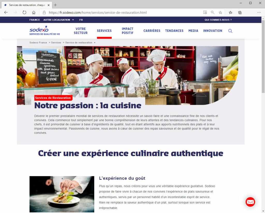 Sodexo France (Guyancourt) - Webmastering sur les sites Internet et Intranet depuis 2012