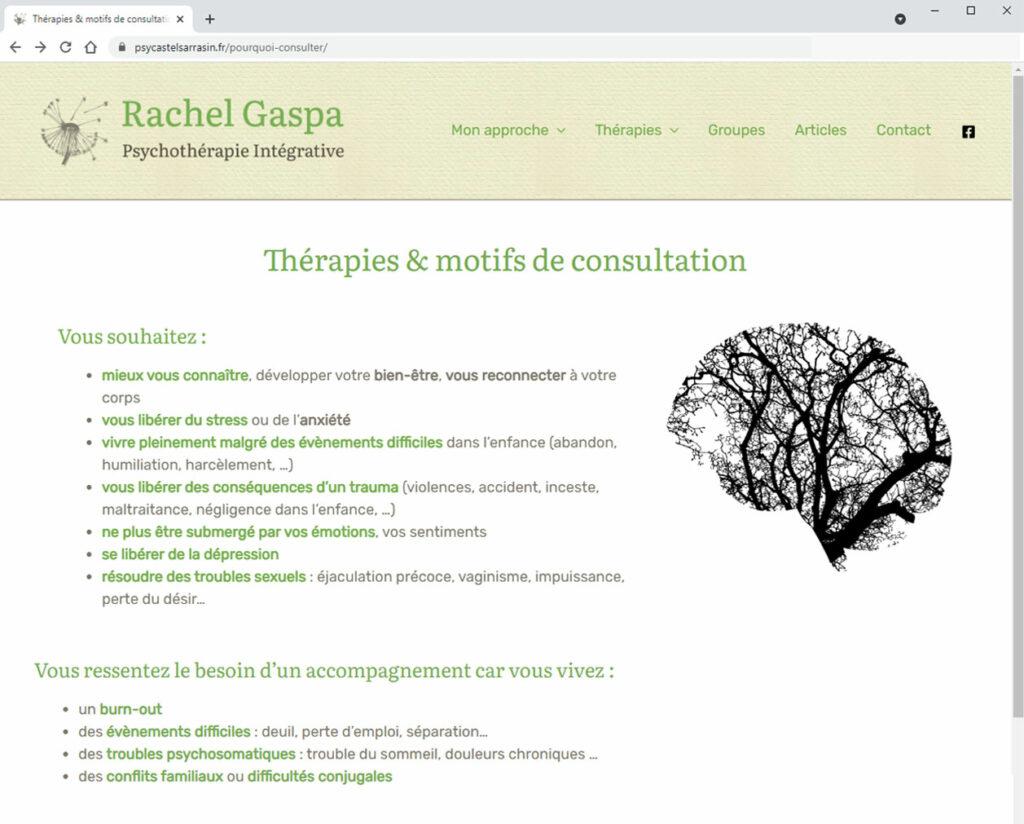 Rachel Gaspa - PsyCastelsarrazin - Audit et refonte du design